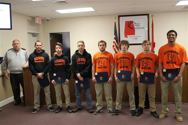 Members of Alexandria High School Wrestling Team